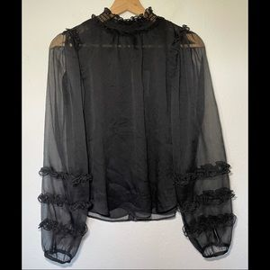 Ann Taylor Sheer Black Blouse With Ruffles